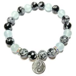 Bracelet en Obsidienne Neige & Aigue Marine