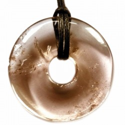 Pendentif Donut en Quartz Fumé