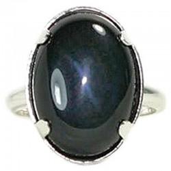 Bague Argent & Obsidienne Oeil Céleste