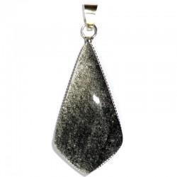 Pendentif en Obsidienne Argentée