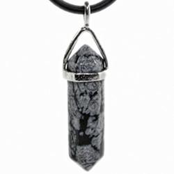 Pendentif Pointe en Obsidienne Neige
