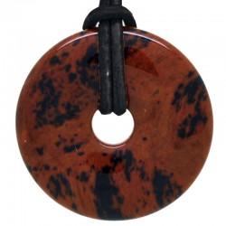 Pendentif Donut en Obsidienne Acajou