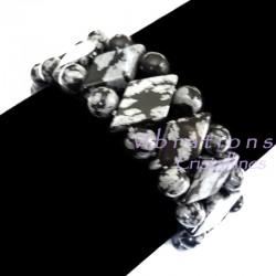 Bracelet Maya en Obsidienne Neige