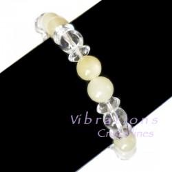 Bracelet en Cristal de Roche & Calcite Jaune