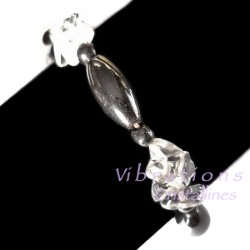 Bracelet en Cristal de Roche & Hématite