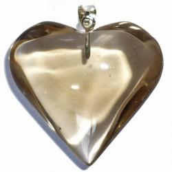 Pendentif Coeur en Quartz Fumé