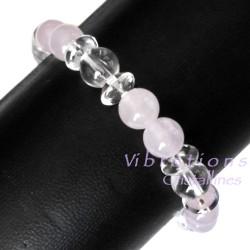 Bracelet en Cristal de Roche & Quartz Rose