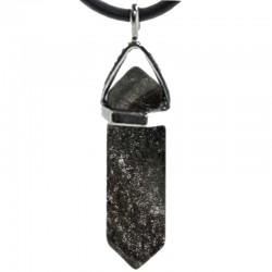 Pendentif Pointe en Obsidienne Argentée