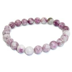 Bracelet Boules en Lépidolite Violette