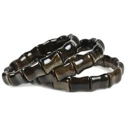 Bracelet Bamboo en Obsidienne Dorée