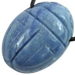 Pendentif Scarabée en Aventurine Bleue