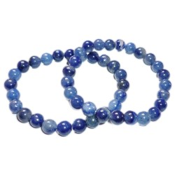 Bracelet Boules en Aventurine Bleue