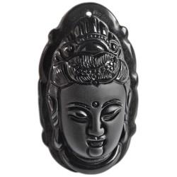 Pendentif Bouddha en Obsidienne Noire