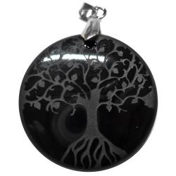 Pendentif Arbre de Vie en Obsidienne Noire