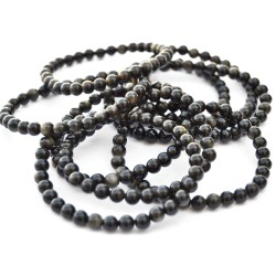 Bracelet Boules en Obsidienne Dorée