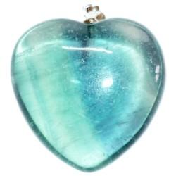 Pendentif Coeur en Fluorite Verte
