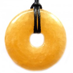 Pendentif Donut en Calcite Jaune