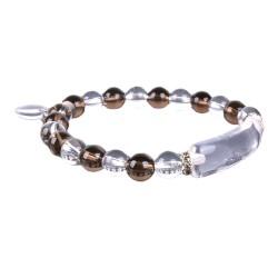 Bracelet Charme en Cristal de Roche & Quartz Fumé